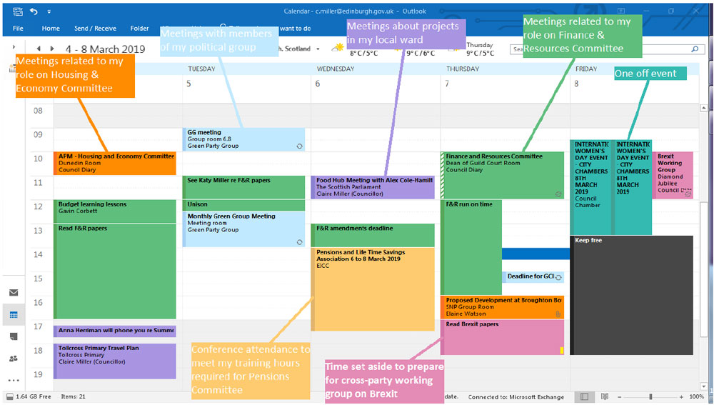 Extract from Councillor Miller's calendar
